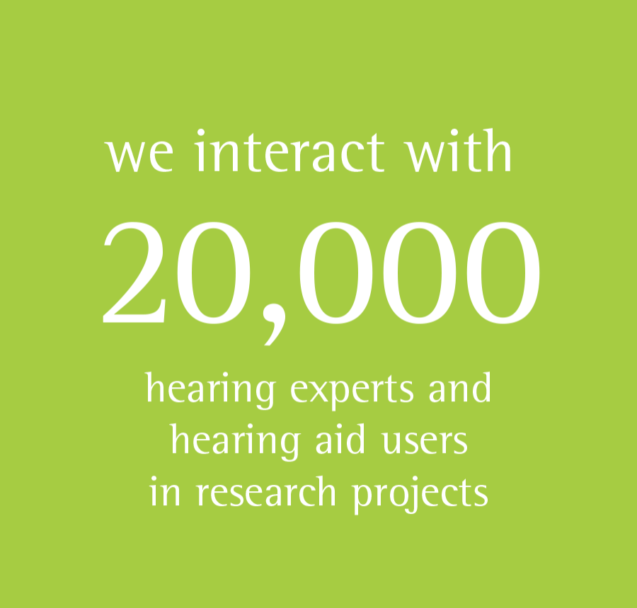 we interact with 20 000 hearing experts and hearing aid users in research projects