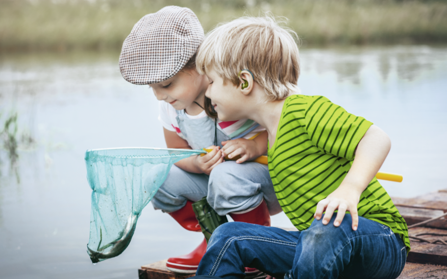 Pediatric - Girl and boy fishing