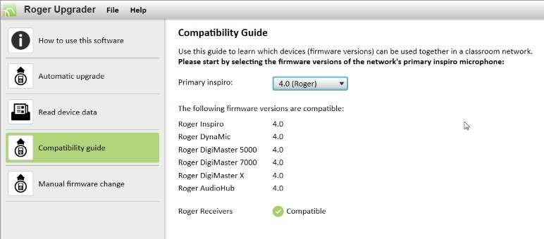 Roger Upgrader - Compatibility Guide