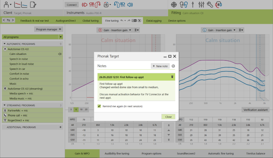 Phonak Target Software 7.0 Client notes